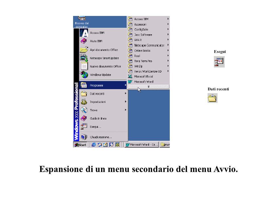 Espansione di un menu secondario del menu Avvio.