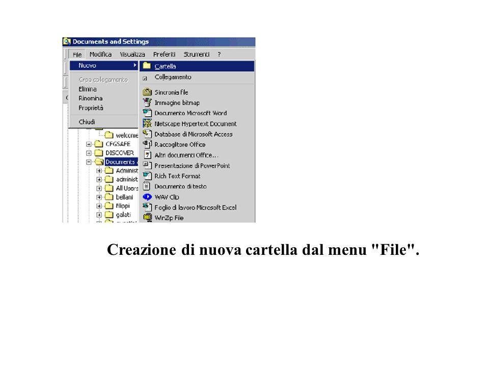 Creazione di nuova cartella dal menu File .