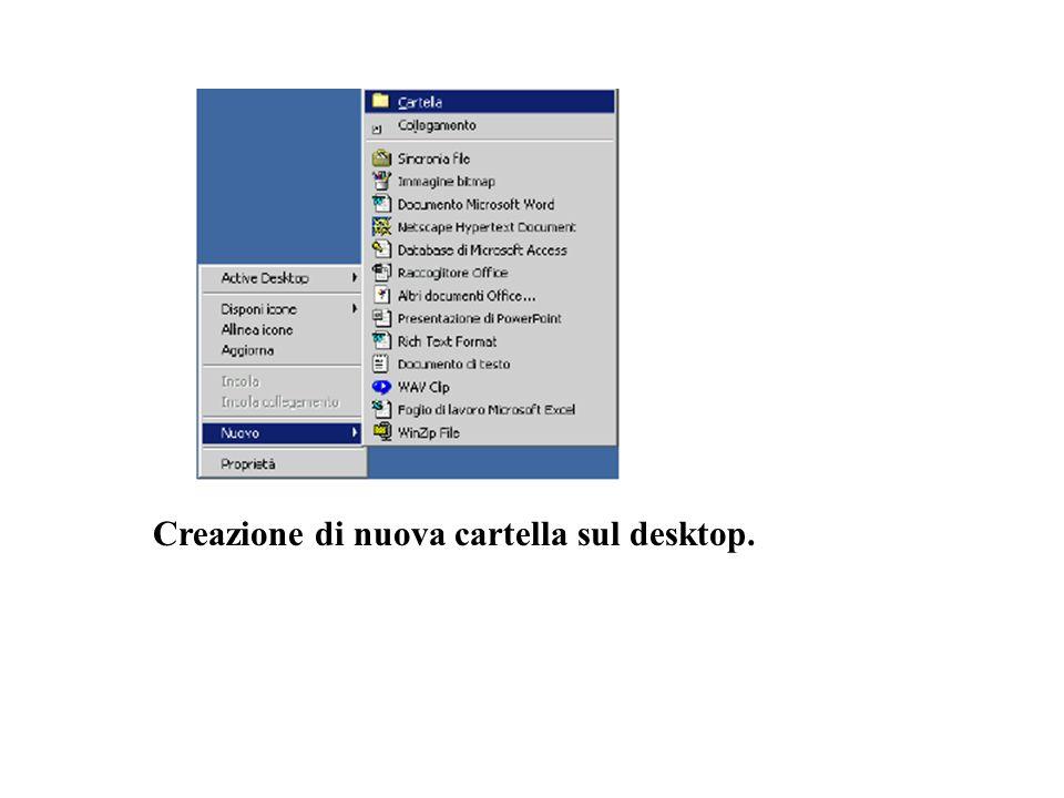 Creazione di nuova cartella sul desktop.