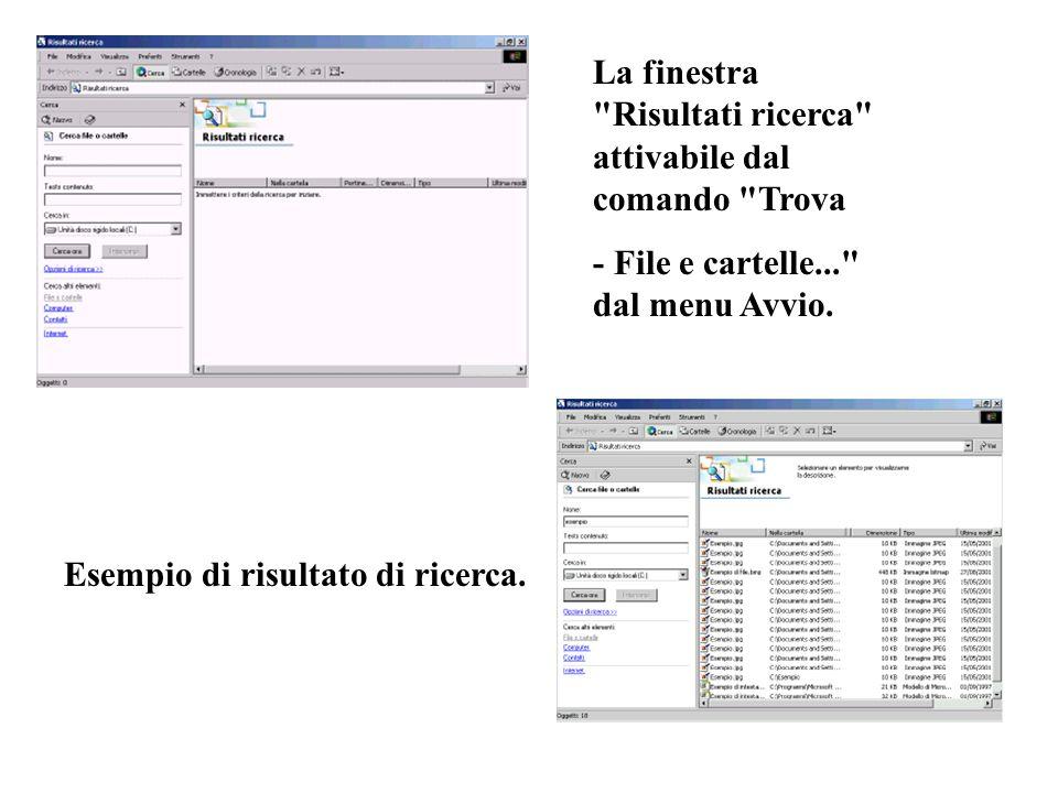 La finestra Risultati ricerca attivabile dal comando Trova - File e cartelle... dal menu Avvio.
