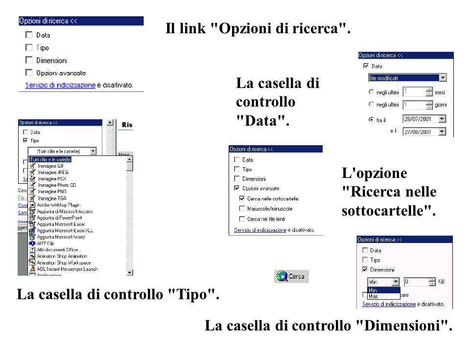 Il link Opzioni di ricerca . La casella di controllo Data .