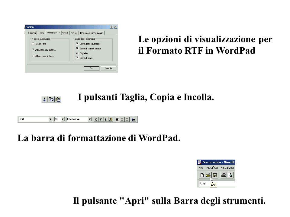 Le opzioni di visualizzazione per il Formato RTF in WordPad I pulsanti Taglia, Copia e Incolla. La barra di formattazione di WordPad. Il pulsante