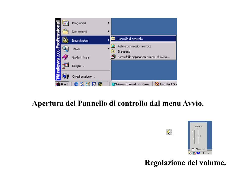Apertura del Pannello di controllo dal menu Avvio. Regolazione del volume.