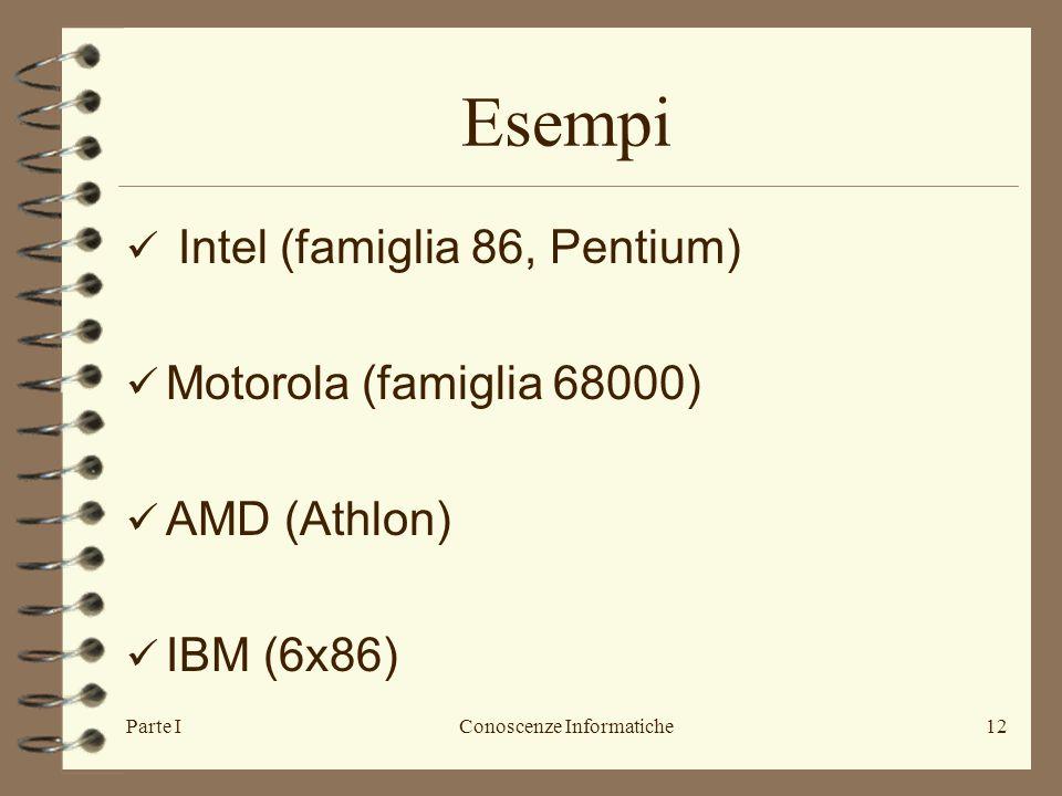 Parte IConoscenze Informatiche12 Esempi Intel (famiglia 86, Pentium) Motorola (famiglia 68000) AMD (Athlon) IBM (6x86)
