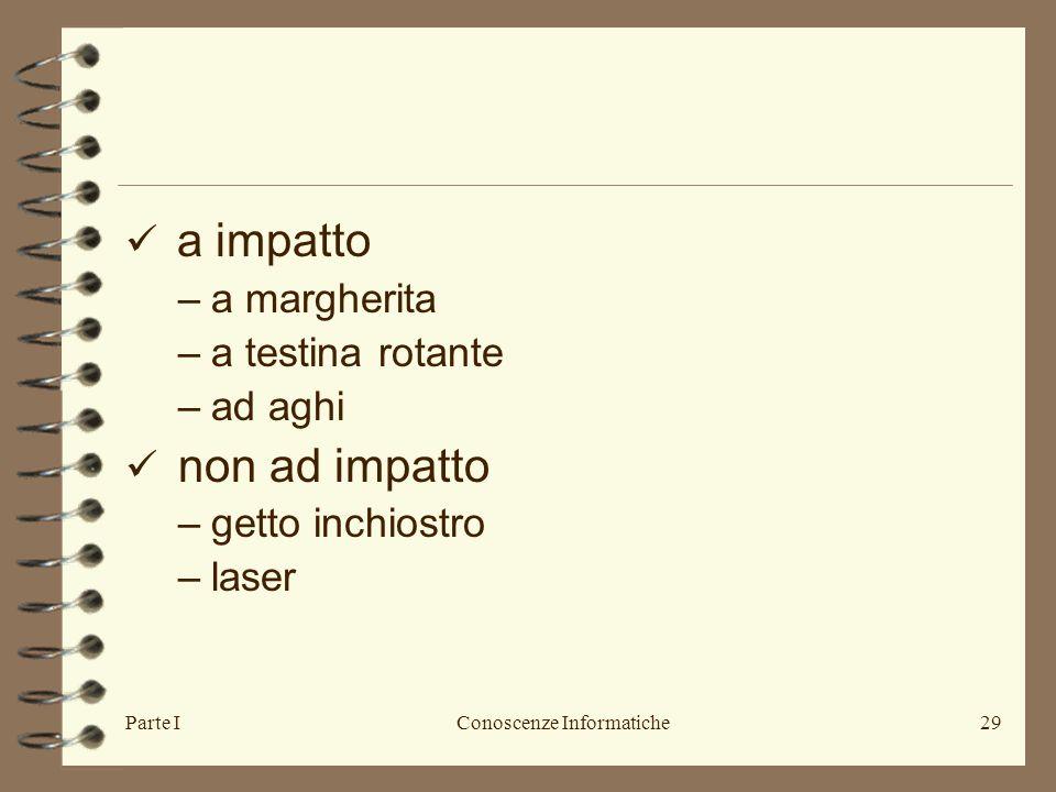 Parte IConoscenze Informatiche29 a impatto –a margherita –a testina rotante –ad aghi non ad impatto –getto inchiostro –laser
