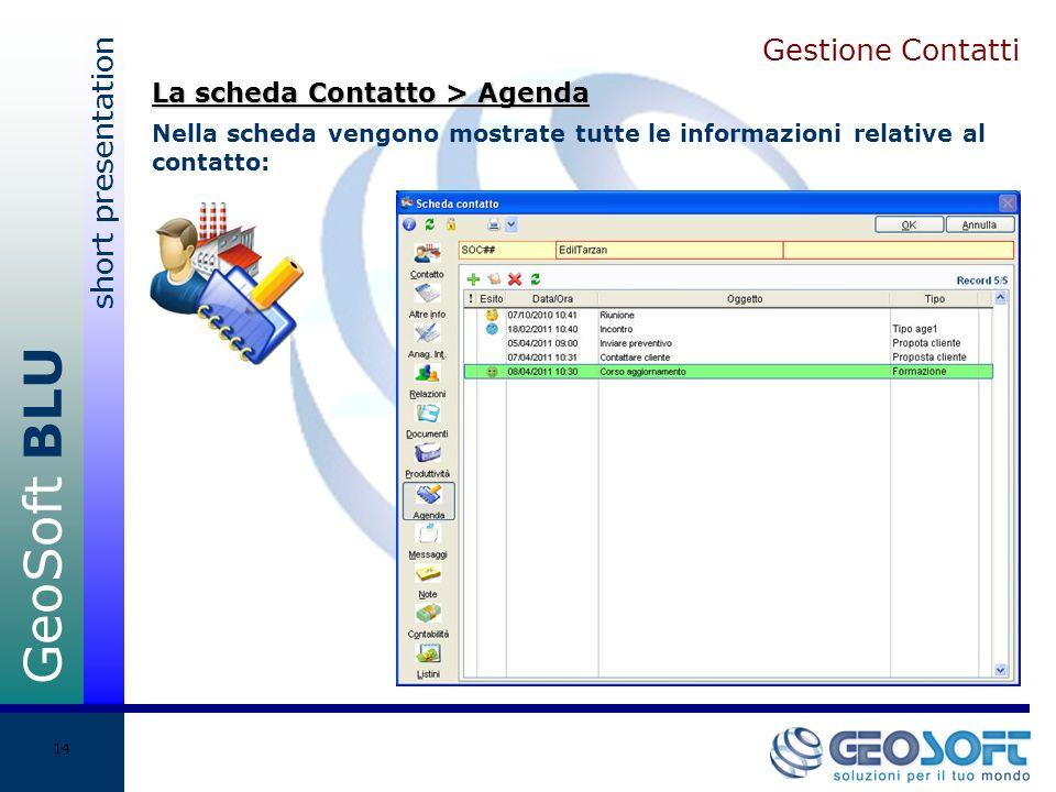 GeoSoft BLU short presentation 14 Gestione Contatti Nella scheda vengono mostrate tutte le informazioni relative al contatto: La scheda Contatto > Agenda