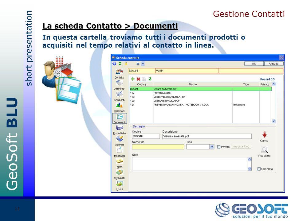 GeoSoft BLU short presentation 15 Gestione Contatti In questa cartella troviamo tutti i documenti prodotti o acquisiti nel tempo relativi al contatto in linea.