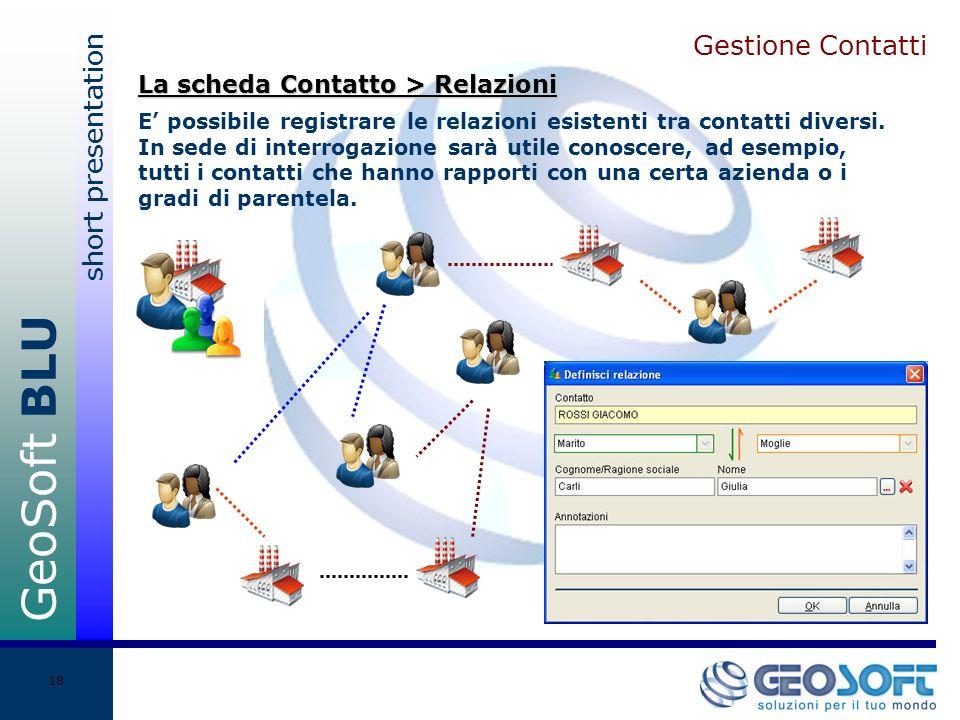 GeoSoft BLU short presentation 18 Gestione Contatti E possibile registrare le relazioni esistenti tra contatti diversi.