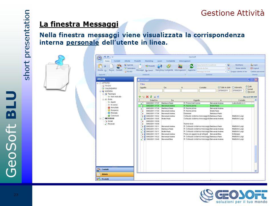 GeoSoft BLU short presentation 23 Gestione Attività Nella finestra messaggi viene visualizzata la corrispondenza interna personale dellutente in linea.