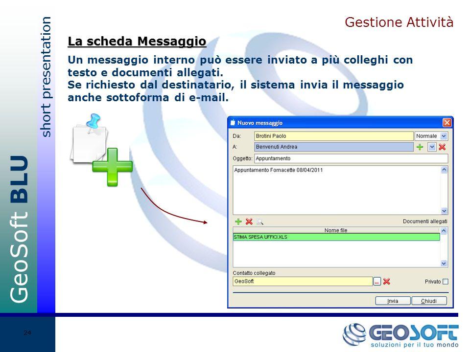 GeoSoft BLU short presentation 24 Gestione Attività Un messaggio interno può essere inviato a più colleghi con testo e documenti allegati.