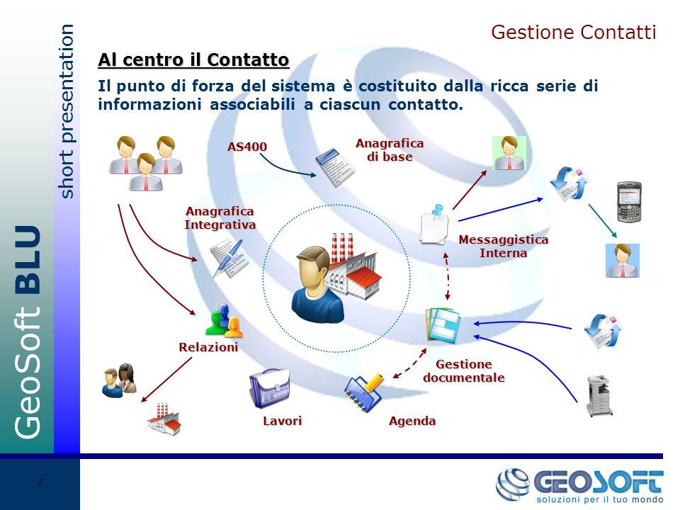 GeoSoft BLU short presentation 7 Gestione Contatti Il punto di forza del sistema è costituito dalla ricca serie di informazioni associabili a ciascun contatto.