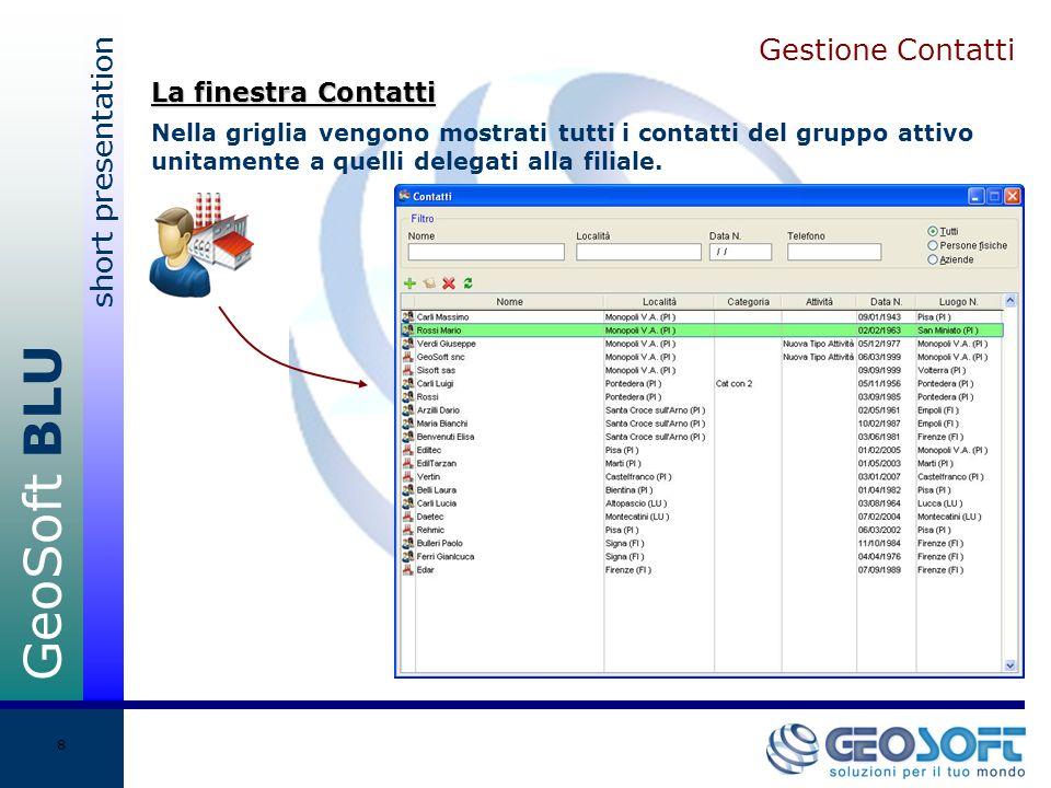 GeoSoft BLU short presentation 8 Gestione Contatti Nella griglia vengono mostrati tutti i contatti del gruppo attivo unitamente a quelli delegati alla filiale.