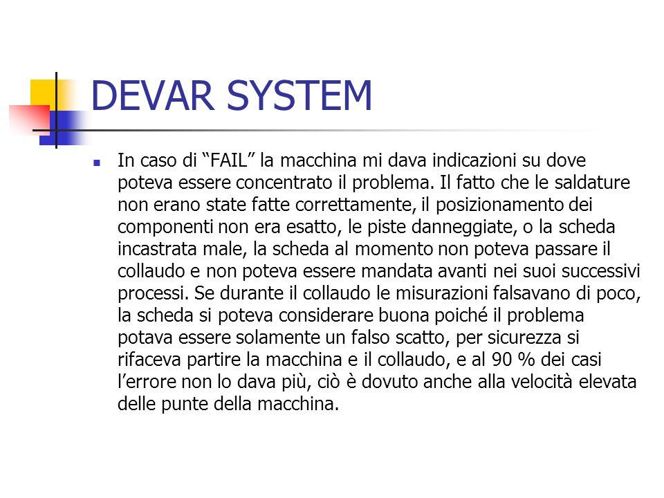In caso di FAIL la macchina mi dava indicazioni su dove poteva essere concentrato il problema.