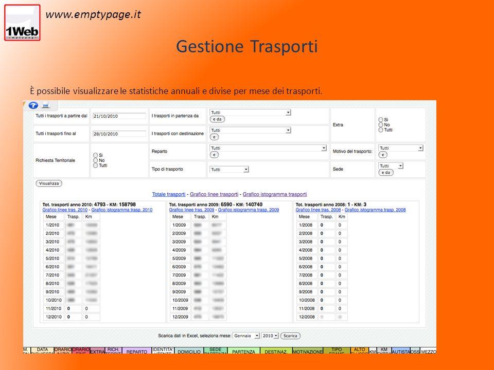 Gestione Trasporti È possibile visualizzare le statistiche annuali e divise per mese dei trasporti.