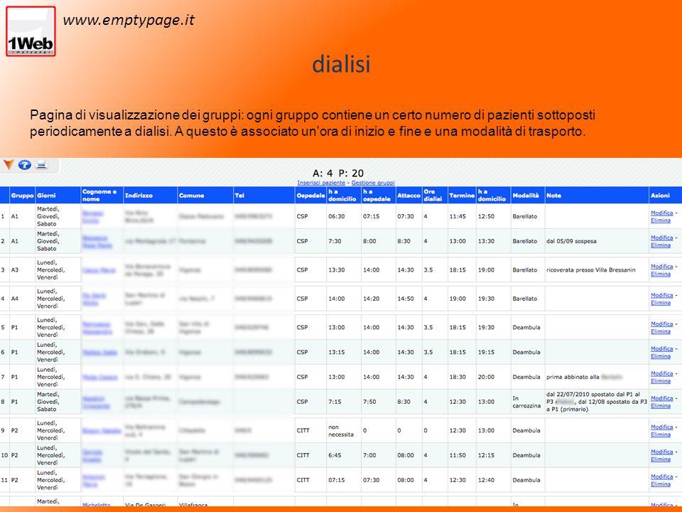 dialisi Pagina di visualizzazione dei gruppi: ogni gruppo contiene un certo numero di pazienti sottoposti periodicamente a dialisi.