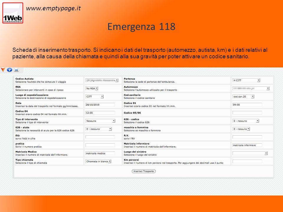 Emergenza 118 Scheda di inserimento trasporto.