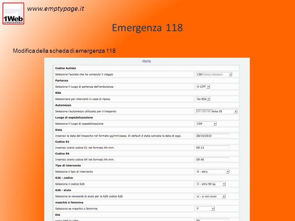 Emergenza 118 Modifica della scheda di emergenza 118 www.emptypage.it