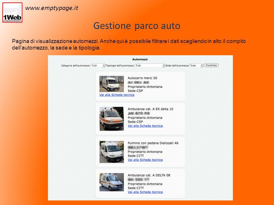 Gestione parco auto Pagina di visualizzazione automezzi.
