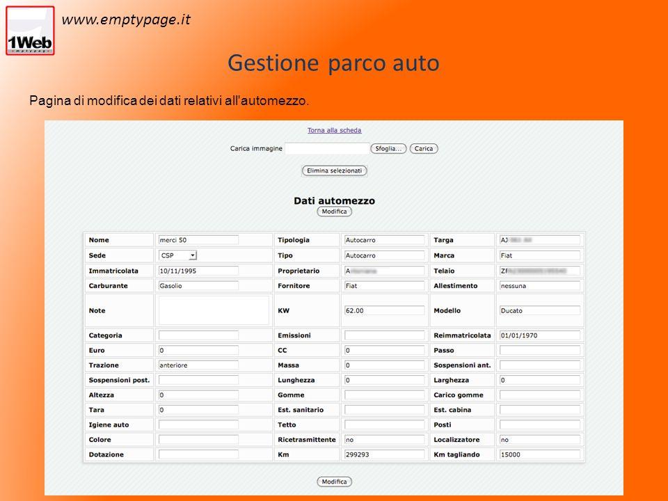 Gestione parco auto Pagina di modifica dei dati relativi all automezzo. www.emptypage.it