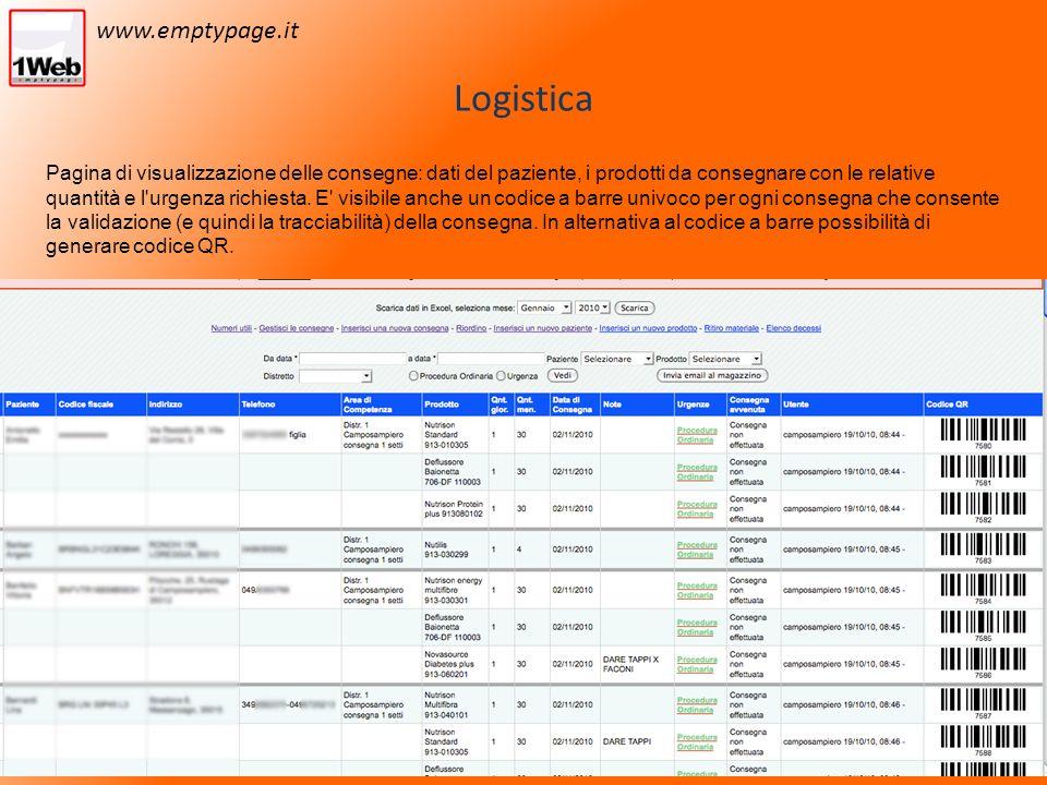 Logistica Pagina di visualizzazione delle consegne: dati del paziente, i prodotti da consegnare con le relative quantità e l urgenza richiesta.