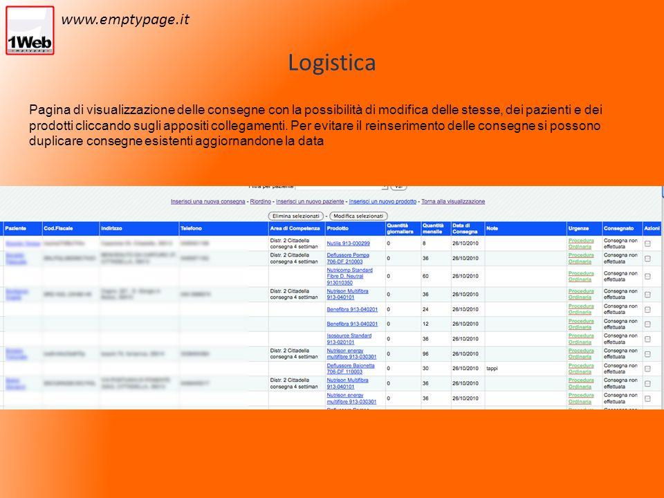 Logistica Pagina di visualizzazione delle consegne con la possibilità di modifica delle stesse, dei pazienti e dei prodotti cliccando sugli appositi collegamenti.