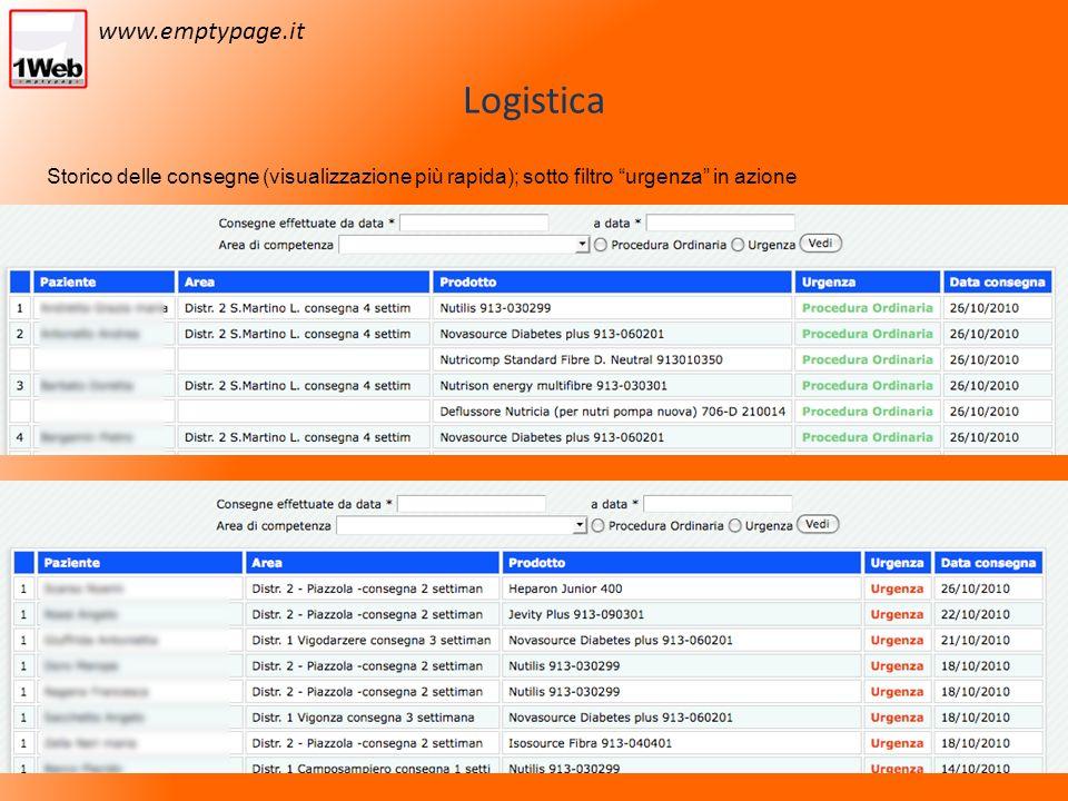 Logistica Storico delle consegne (visualizzazione più rapida); sotto filtro urgenza in azione www.emptypage.it