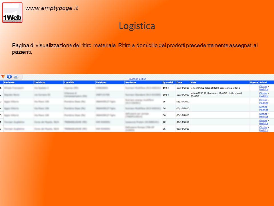 Logistica Pagina di visualizzazione del ritiro materiale.