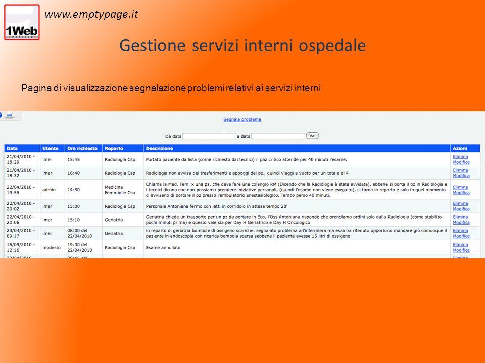 Gestione servizi interni ospedale Pagina di visualizzazione segnalazione problemi relativi ai servizi interni www.emptypage.it