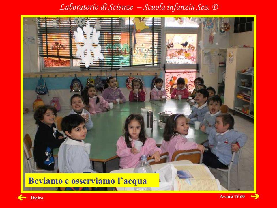 Dietro Laboratorio di Scienze – Scuola infanzia Sez. D Beviamo e osserviamo lacqua Avanti 19-60