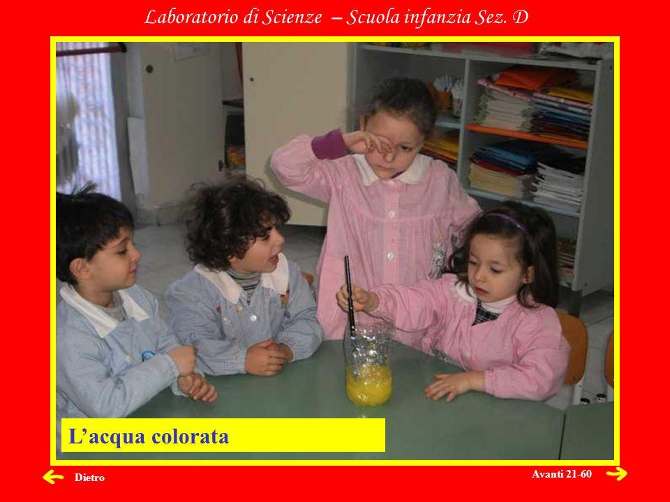 Dietro Laboratorio di Scienze – Scuola infanzia Sez. D Lacqua colorata Avanti 21-60