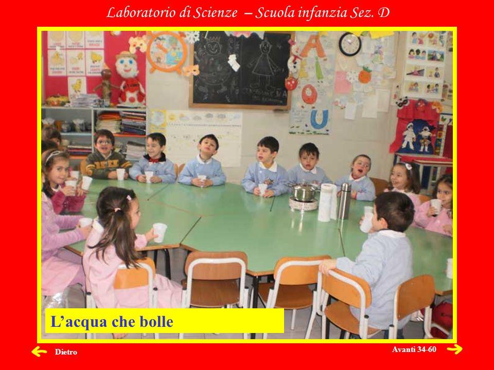 Dietro Laboratorio di Scienze – Scuola infanzia Sez. D Lacqua che bolle Avanti 34-60