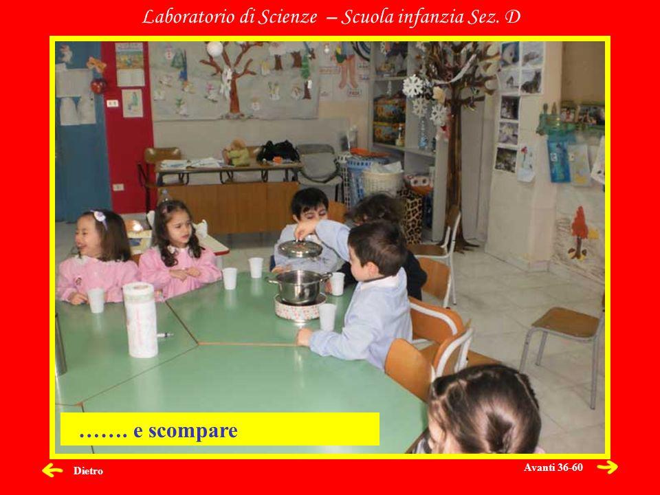 Dietro Laboratorio di Scienze – Scuola infanzia Sez. D ……. e scompare Avanti 36-60