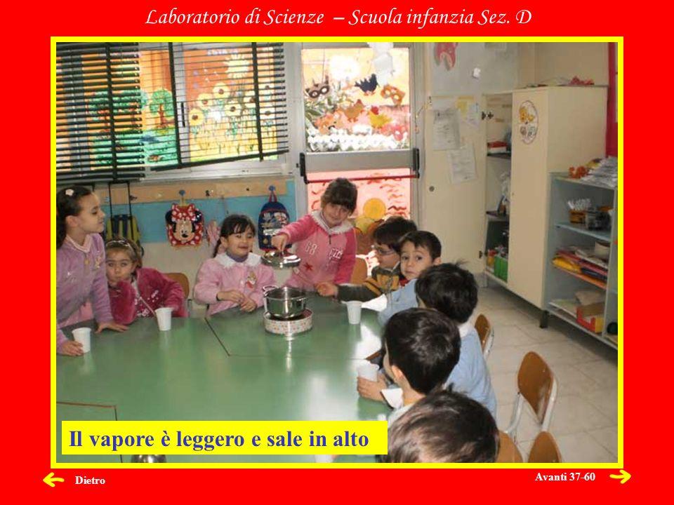 Dietro Laboratorio di Scienze – Scuola infanzia Sez. D Il vapore è leggero e sale in alto Avanti 37-60
