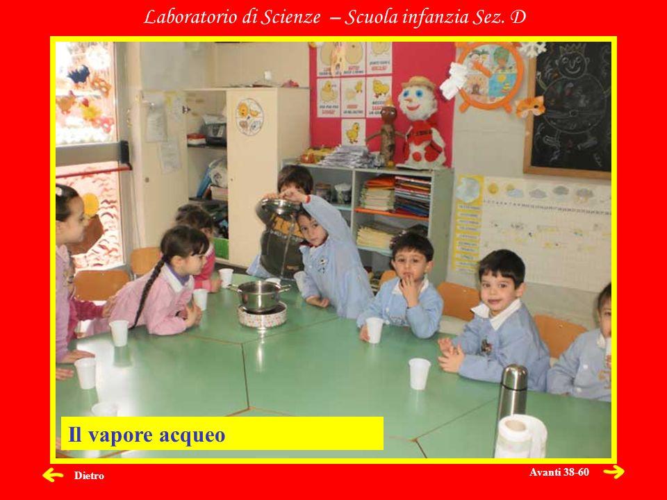 Dietro Laboratorio di Scienze – Scuola infanzia Sez. D Il vapore acqueo Avanti 38-60