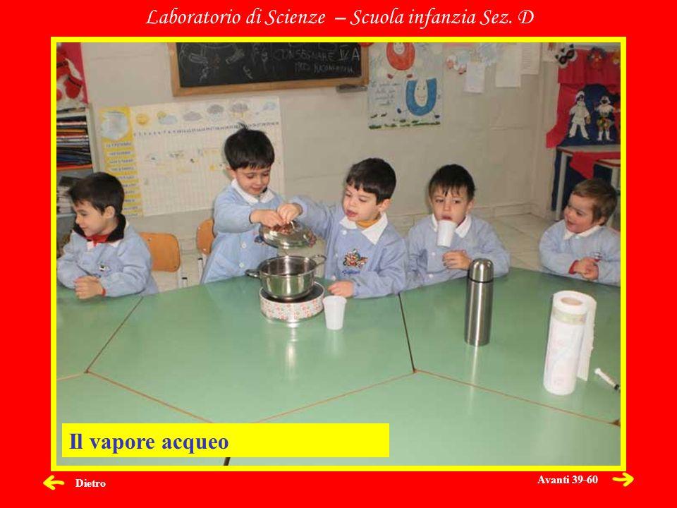 Dietro Laboratorio di Scienze – Scuola infanzia Sez. D Il vapore acqueo Avanti 39-60