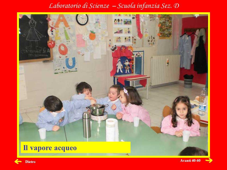 Dietro Laboratorio di Scienze – Scuola infanzia Sez. D Il vapore acqueo Avanti 40-60