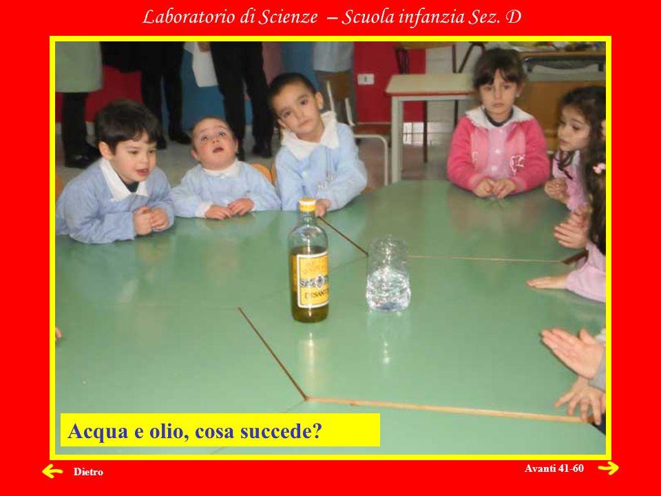 Dietro Laboratorio di Scienze – Scuola infanzia Sez. D Acqua e olio, cosa succede? Avanti 41-60