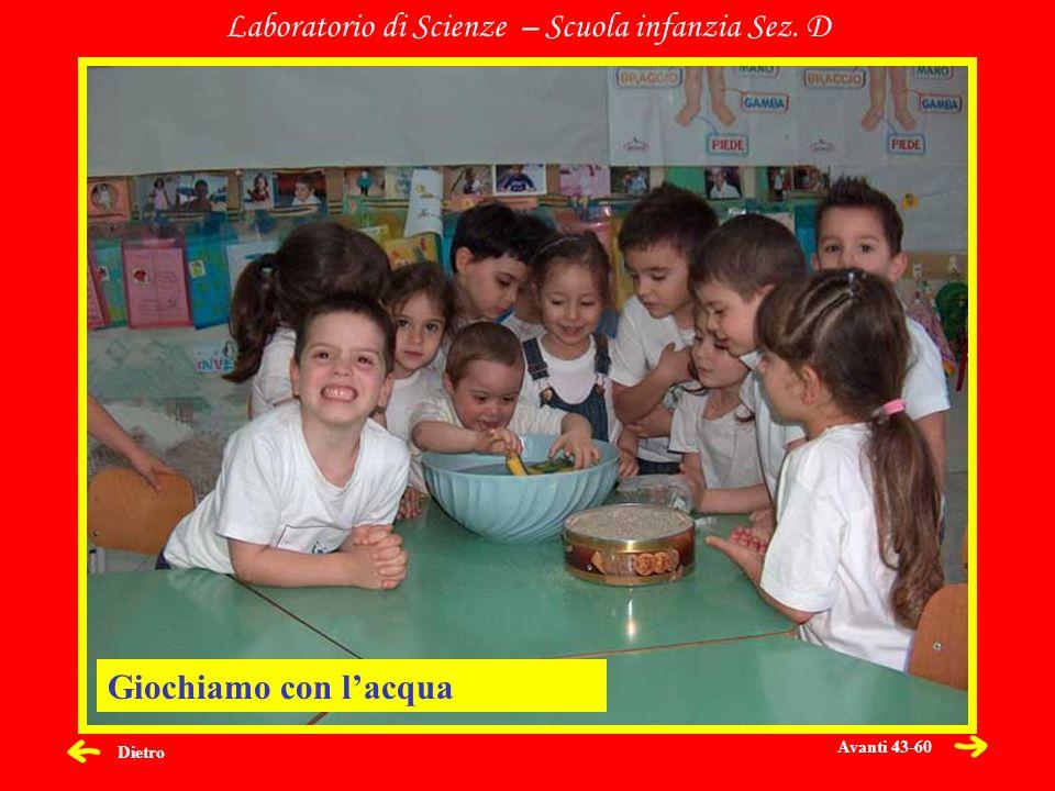 Dietro Laboratorio di Scienze – Scuola infanzia Sez. D Giochiamo con lacqua Avanti 43-60