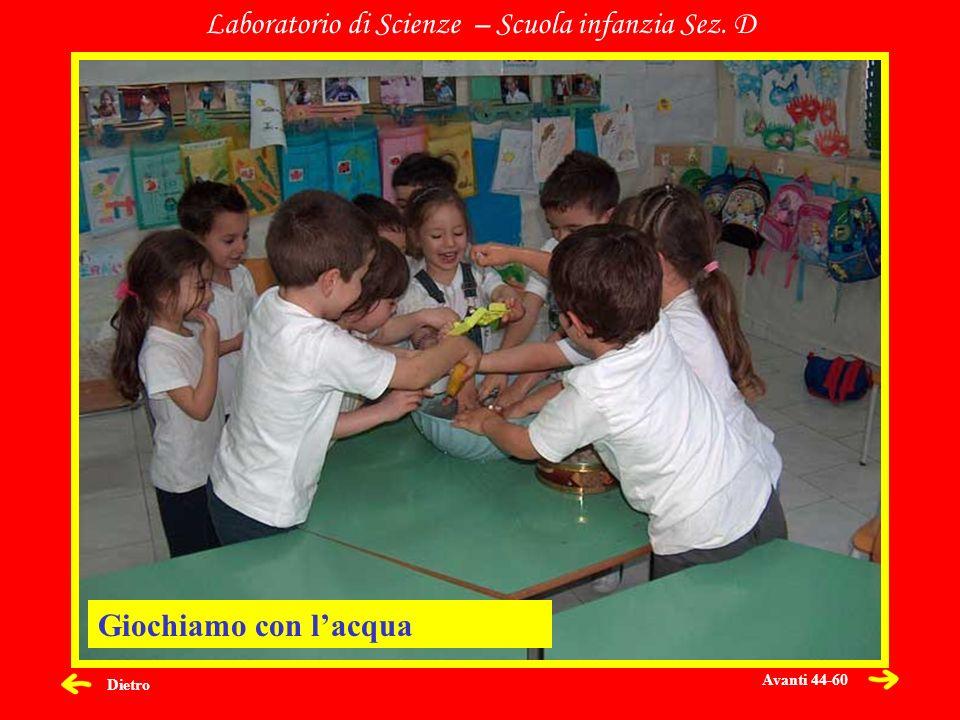 Dietro Laboratorio di Scienze – Scuola infanzia Sez. D Giochiamo con lacqua Avanti 44-60