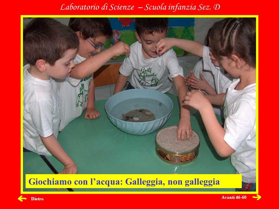 Dietro Laboratorio di Scienze – Scuola infanzia Sez. D Giochiamo con lacqua: Galleggia, non galleggia Avanti 46-60