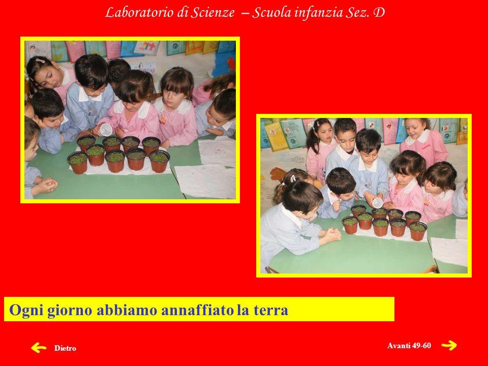 Dietro Laboratorio di Scienze – Scuola infanzia Sez. D Ogni giorno abbiamo annaffiato la terra Avanti 49-60