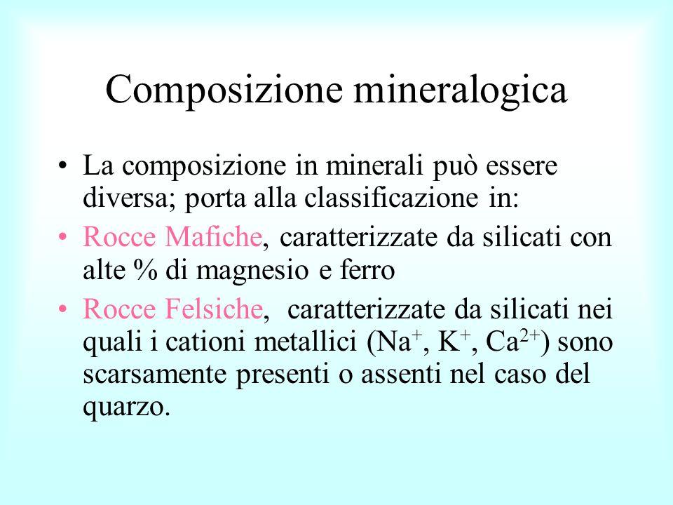 Composizione mineralogica La composizione in minerali può essere diversa; porta alla classificazione in: Rocce Mafiche, caratterizzate da silicati con
