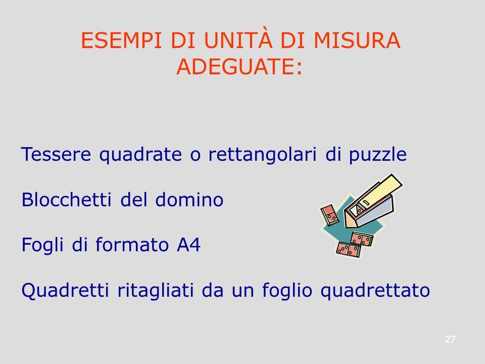 27 ESEMPI DI UNITÀ DI MISURA ADEGUATE: Tessere quadrate o rettangolari di puzzle Blocchetti del domino Fogli di formato A4 Quadretti ritagliati da un