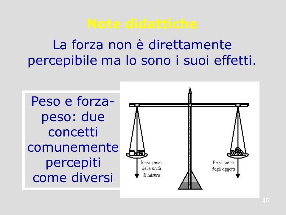 45 Note didattiche La forza non è direttamente percepibile ma lo sono i suoi effetti. Peso e forza- peso: due concetti comunemente percepiti come dive