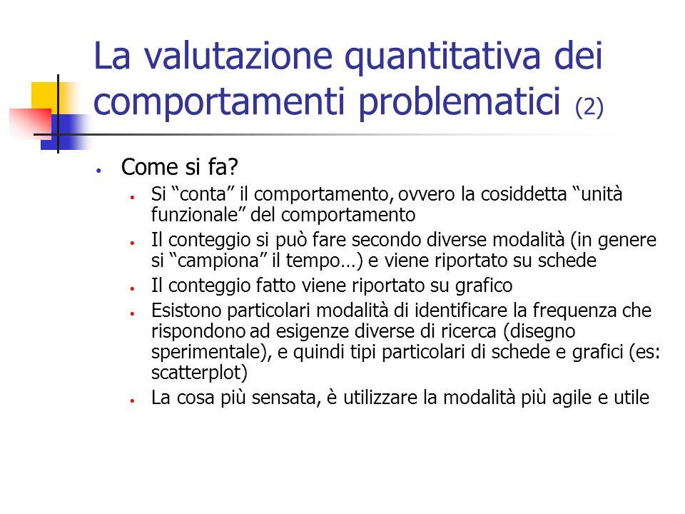 La valutazione quantitativa dei comportamenti problematici (2) Come si fa? Si conta il comportamento, ovvero la cosiddetta unità funzionale del compor