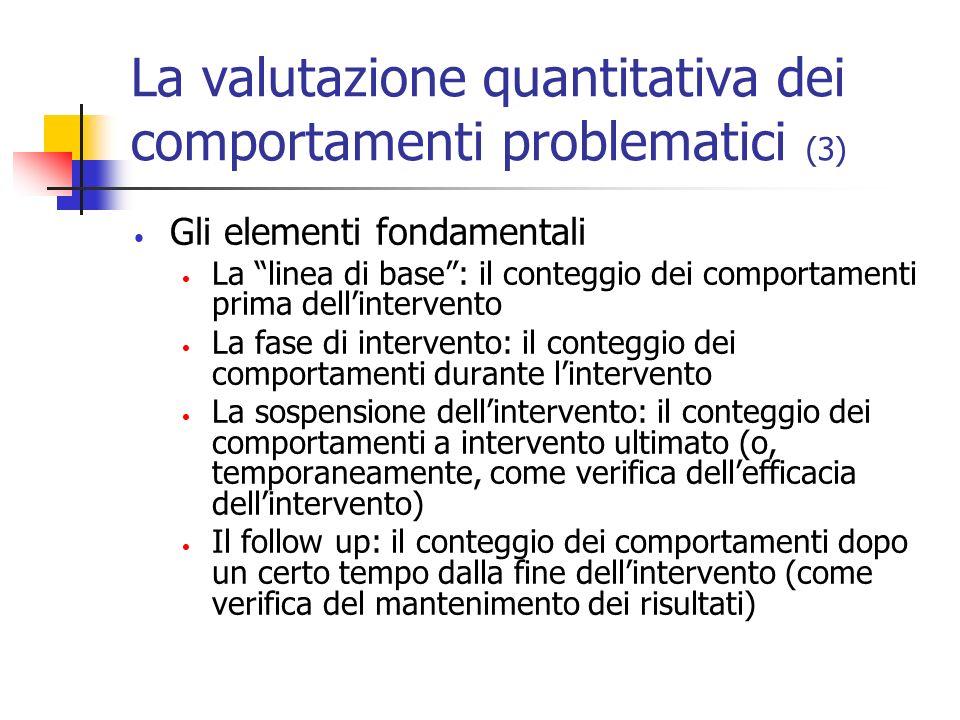 La valutazione quantitativa dei comportamenti problematici (3) Gli elementi fondamentali La linea di base: il conteggio dei comportamenti prima dellin