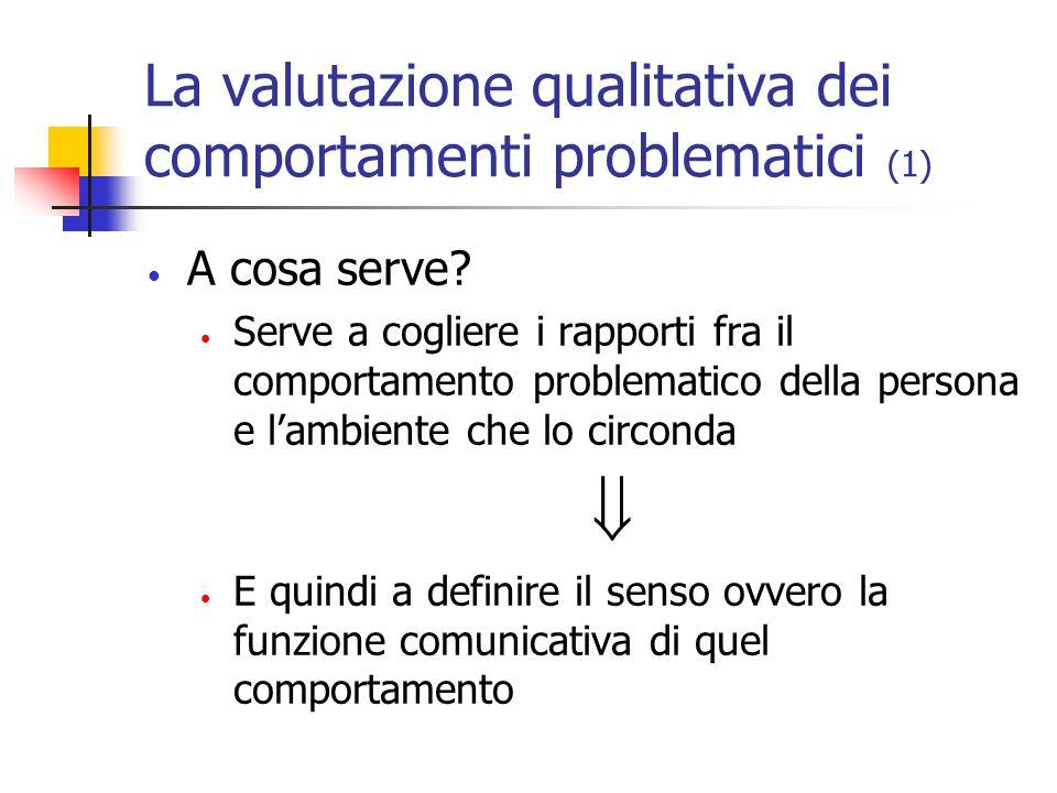 La valutazione qualitativa dei comportamenti problematici (1) A cosa serve? Serve a cogliere i rapporti fra il comportamento problematico della person