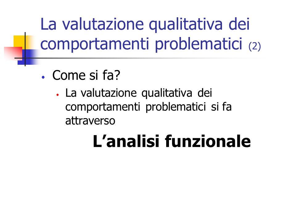 La valutazione qualitativa dei comportamenti problematici (2) Come si fa? La valutazione qualitativa dei comportamenti problematici si fa attraverso L