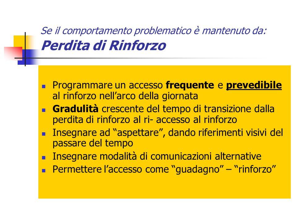Se il comportamento problematico è mantenuto da: Perdita di Rinforzo Programmare un accesso frequente e prevedibile al rinforzo nellarco della giornat