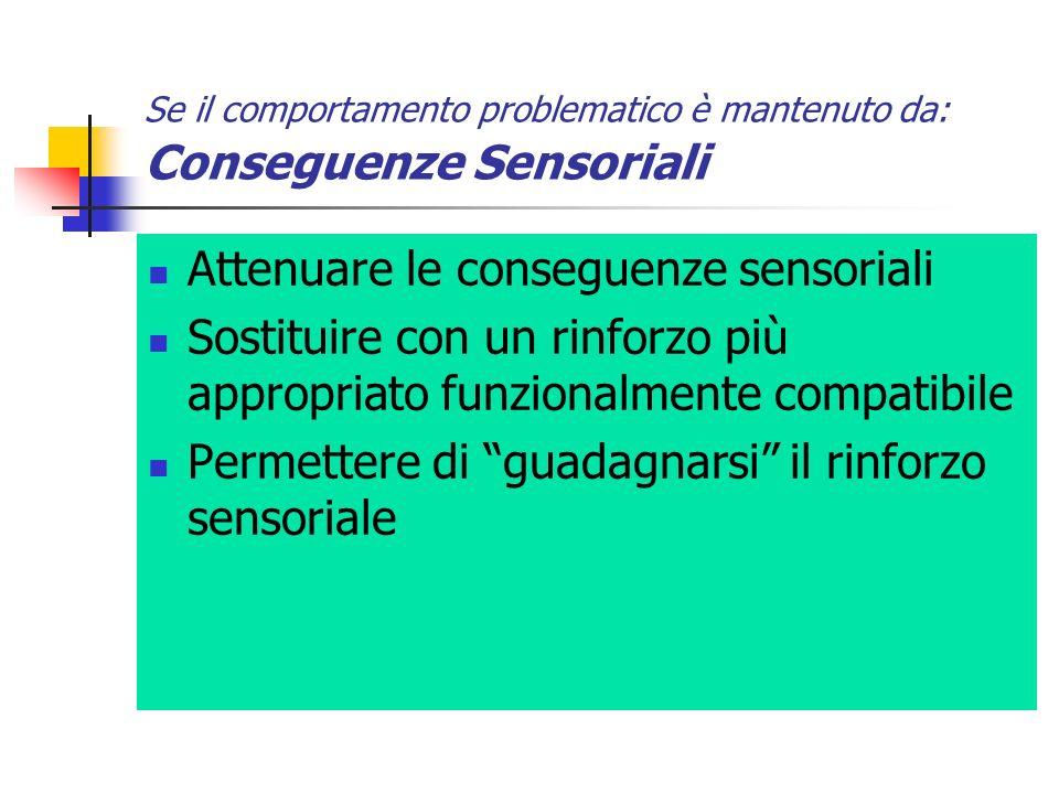 Se il comportamento problematico è mantenuto da: Conseguenze Sensoriali Attenuare le conseguenze sensoriali Sostituire con un rinforzo più appropriato